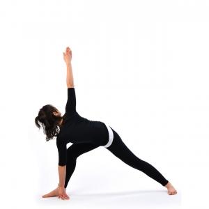 revolved bent knee triangle pose  trikonasana  satya