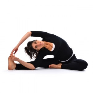spiralled head to knee pose  satya live yoga  southern